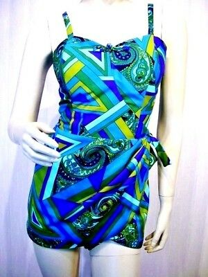 HAWAIIAN CASUALS Stan Hicks VTG 50s SARONG SWIMSUIT PLAYSUIT ROMPER M L AS IS