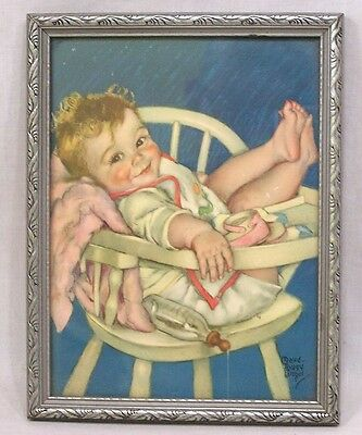 Vintage Framed Print Baby In High Chair Maude Tousy Langel 1930s-40s
