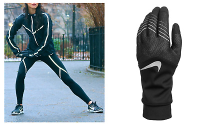 Nike Women's Therma Fit Storm-Fit Hybrid Running Gloves Nrgf6 Black/reflective