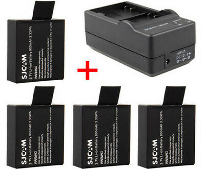 4Pcs 3.7V 900mAh Li-ion Battery +Charger For SJ4000 SJ5000 SJ6000 Action Camera