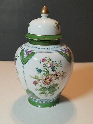 "Original LJ Japan 8"" Ginger Jar Urn Vase Floral Rare Green"