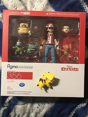 Authentic Figma 356 Pokemon Trainer Red  Action Figure Max Factory With BONUS