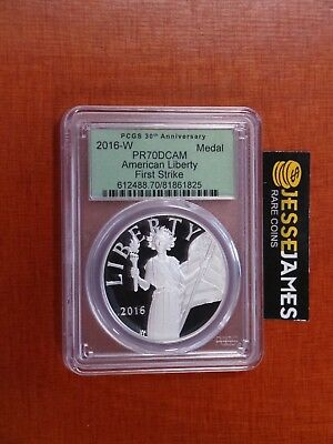 2016 W American Liberty Proof Silver Medal Pcgs Pr70 Dcam First Strike Green