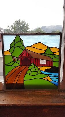 Antique/vintage red covered bridge stained glass hanging panel, handmade