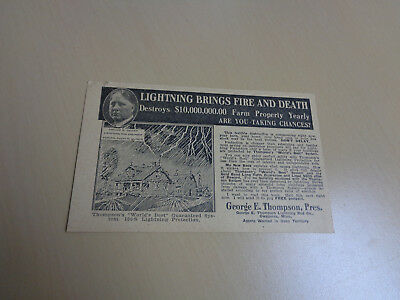 1922 Advertising Card-Thompson Weather Vanes/Lightning Rods
