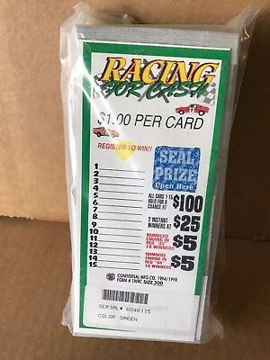 """""""Racing 4 Cash"""" 1 Window Pull Tab 300 Tickets Payout $250"""