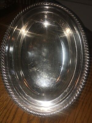 VINTAGE WM ROGERS SILVER PLATE OVAL BREAD SERVING BOWL 12x9in