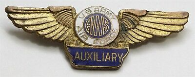 Vintage WW2 Gold Tone Enamel Aircraft Warning Service Auxiliary Wings Brooch Pin
