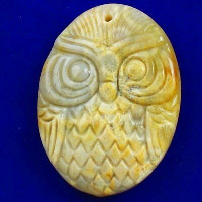 Carved Natural Chrysanthemum Coral Fossil Owl Pendant Bead X21554