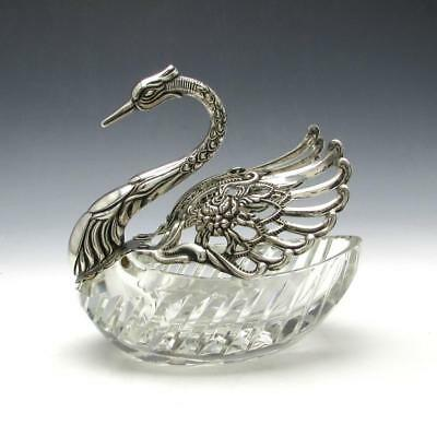"Vintage German .835 Silver LARGE 5"" Figural Swan Cut Crystal Master Salt Cellar"