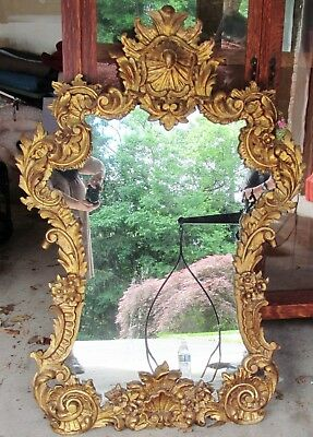 Lg Ornate Mid Century Baroque Mirror Frame Rococo Hollywood Gold Wood & Plaster