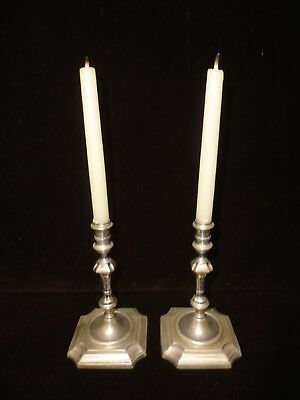 Sterling Candlesticks Pair Square Base