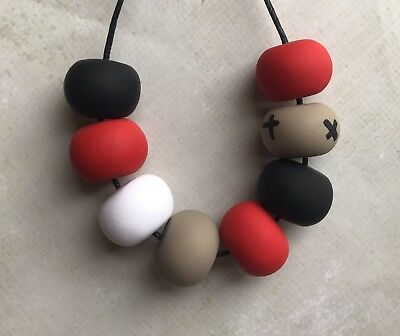 Stunning Handmade Polymer Clay Red Tan Black White Bead Necklace. NEW
