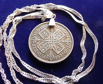 "1931 English SILVER Florin Pendant on a 30"" Italian Sterling Silver Wavy Chain"