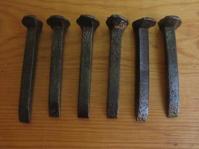 """Lot of 6 California Gold Country Mining Ore Cart Rail Track Spikes 2 7/8""""  Rare"""