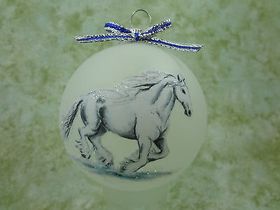 H054 Hand-made Christmas Ornament stylized HORSE - white percheron gypsy gallop