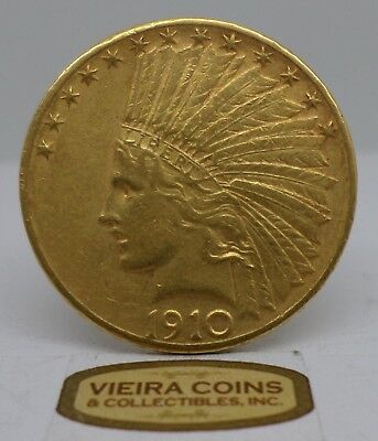 1910-D Indian Head Gold 10 Dollars - Hard to Find - #C11637