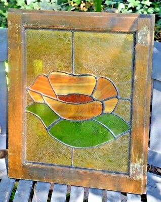 """ANTIQUE LEADED STAINED GLASS WINDOW FLOWER Design 20"""" x 17"""""""
