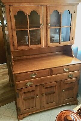 Beautiful All Cherry Wood Vintage China Cabinet And Hutch In A Soft Finish Too