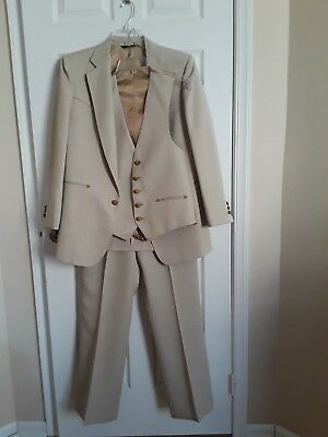 Vintage Western Cowboy 3 pieces Suit Bone Cream  Pant 34 x 31, Jacket Vest 38R