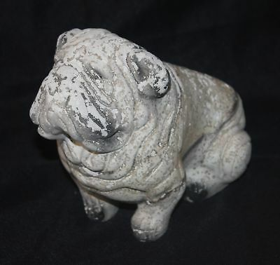 vintage BULLDOG BANK - chalkware - antique Dog coin bank - GEORGIA - Lawn Decor