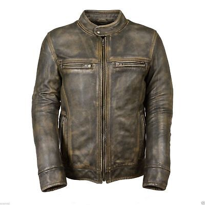 Men's Biker Vintage Style Cafe Racer Wax Distressed Leather Jacket