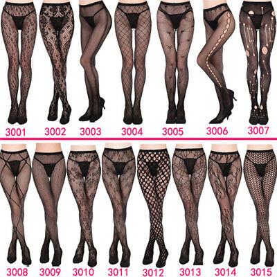 Women's Black Lace Fishnet Hollow Patterned PantyhoseTights Stocking One Size ES