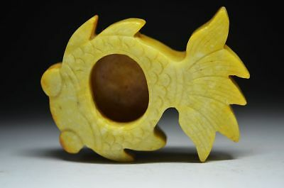 Exquisite workmanship Chinese old jade carved *fish* brush washer R03