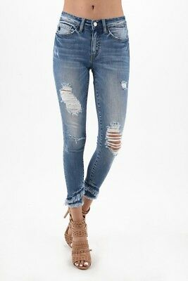 NWT KanCan Med. Wash Distressed Double Frayed Ankle Jean