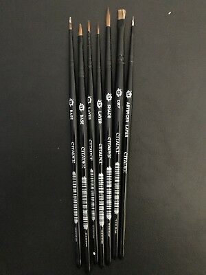 Collection Of 6 Games Workshop Paint Brushes (Barely Used) Warhammer 40k