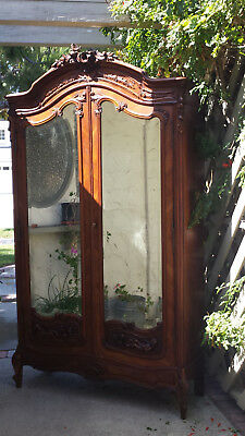 French Rococo armoire full beveled mirrors,solid and veneer walnut hand carving