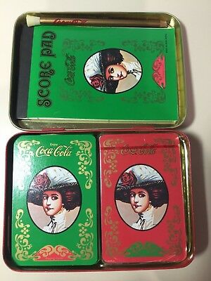 Old Fashioned Coca Cola Tin And Playing Cards with score pad and pencil
