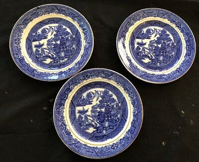 Vintage  Blue Willow Side Plates X 3  -  Made In Japan In Vg Cond.