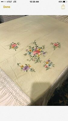 VINTAGE SILK EMBROIDERED SHAWL PALE GREEN1930's-'40's
