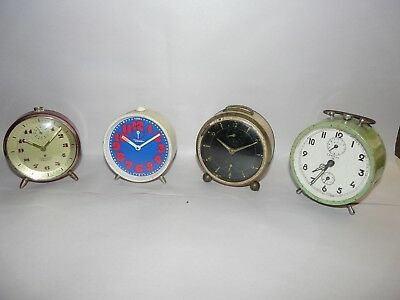 4 Vintage German Alarm Clocks 2 JUNGHANS, 1 DIEHL, 1 CHELSEA for Parts or Repair