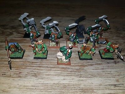 GW Warhammer Quest & Fantasy Battles: 13 OOP Painted Orc Boyz and Savage Orcs