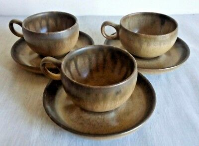 """Vintage DENBY BROWN """"ROMANY""""  3 Cups & Saucers Quality Set only £17.99 England"""