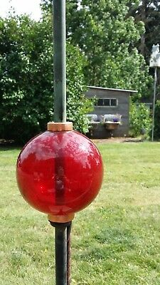 Plain Smooth Round Large Red Glass Lightning Rod Ball