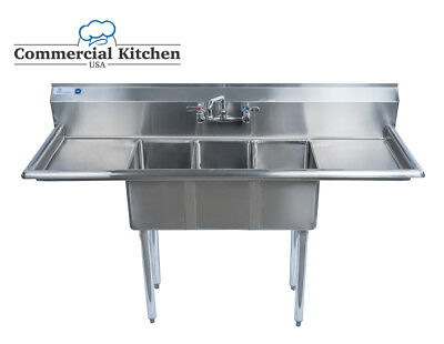 "Stainless Steel 3 Compartment Sink 60"" x 20"" w 2 Drainboards NSF Cert BUNDLE"