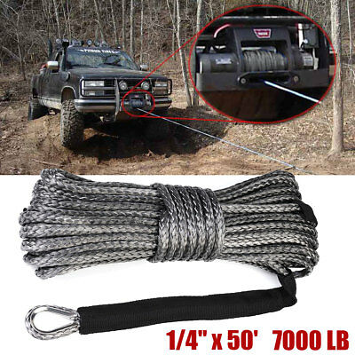 Synthetic Winch Rope Line Cable 1/4'' x 50' 7000 LB With Rock Guard For ATV UTV