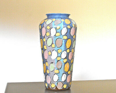 80s Vintage LEO NEUHOFER NEW WAVE STUDIO ART POTTERY VASE Australian SIGNED
