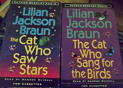 TWO Audiobooks Lilian Jackson Braun Cassettes CAT WHO SAW STARS & SANG FOR BIRDS