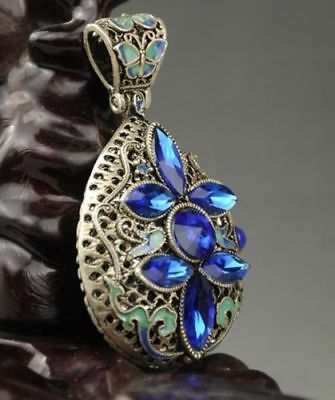 chinese  cloisonne Miao silver inlay natural  sapphire handwork pendant a02