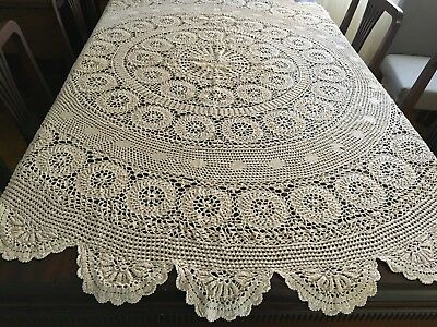 CROCHET  Beige, Round Tablecloth 175cm Diameter  - Beautiful Con