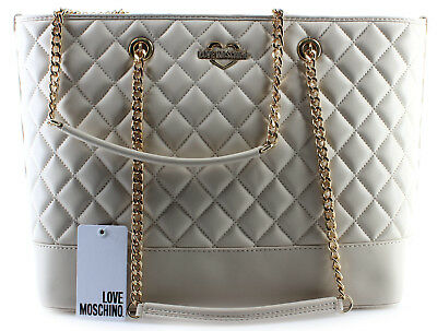 1b58dfcd86a49 Women s Shoulder Bag LOVE MOSCHINO Quilted Nappa PU Avorio Ivory Gold New  Nuova