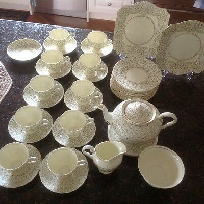 38 Pieces-Tea Cups, Cake Plates Etc Vintage Plant Tuscan Fine China Made England