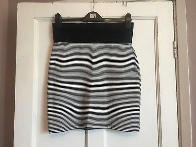 Ladies Black & White Striped Maternity Pencil Skirt from Topshop Size 10