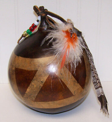 Gourd Rattle With Feathers And Beads