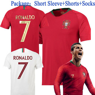 2018 Football Kits Soccer Suits Ronaldo 7 Jerseys For Kids 3-14YRS Adults SML XL