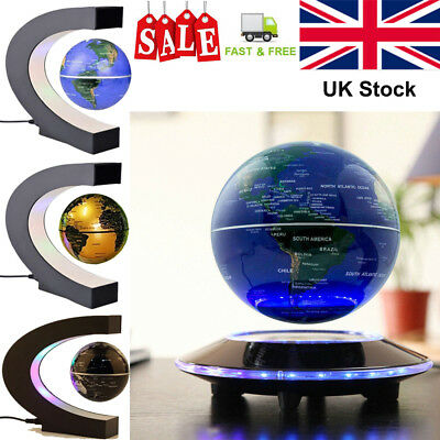 2018 LED GLOBE WORLD MAP Lamp Rotating Magnetic Levitation Floating Globe Light